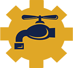 Plumbing and heating technology gear icon