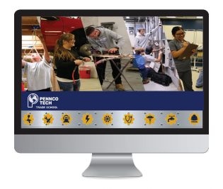 Computer screen with Pennco Tech website displayed
